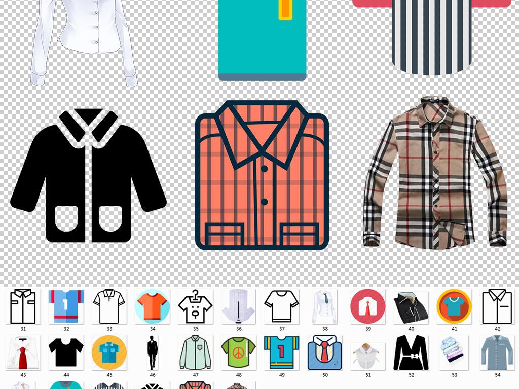 衬衫女装男装手绘服装服饰衣服图标服饰图标球服短袖长袖服装搭配