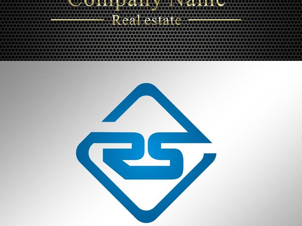 菱形字母rs金色标志设计模板下载图片