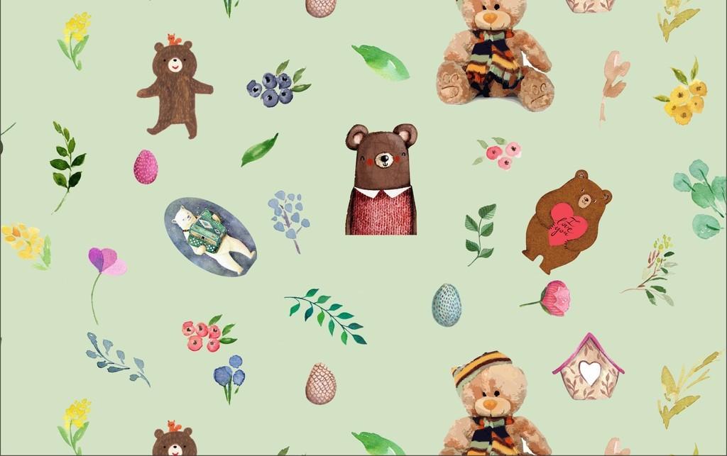 复古花朵复古植物复古熊森系熊森系复古森系植物森系花朵背景森系背景