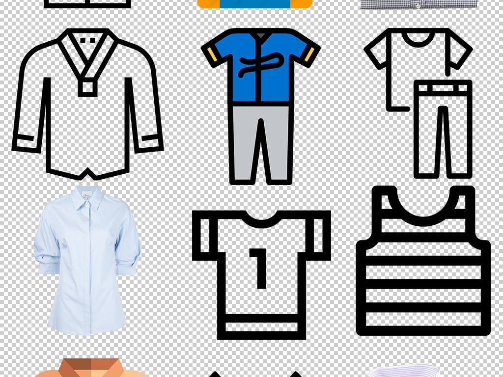 卡通手绘服装衣服图标png设计免扣素材