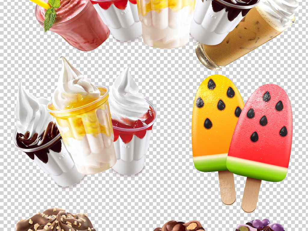 夏天甜筒冰淇淋png透明背景素材