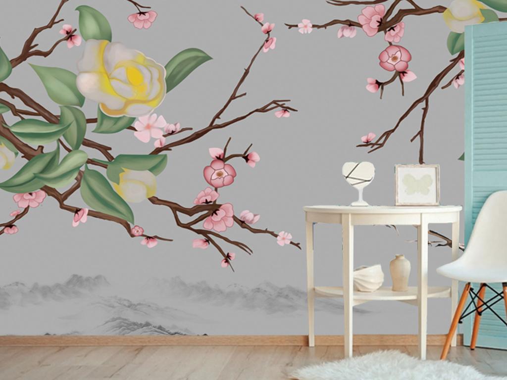 背景墙|装饰画 电视背景墙 手绘电视背景墙 > 新中式梅花花朵山水中式