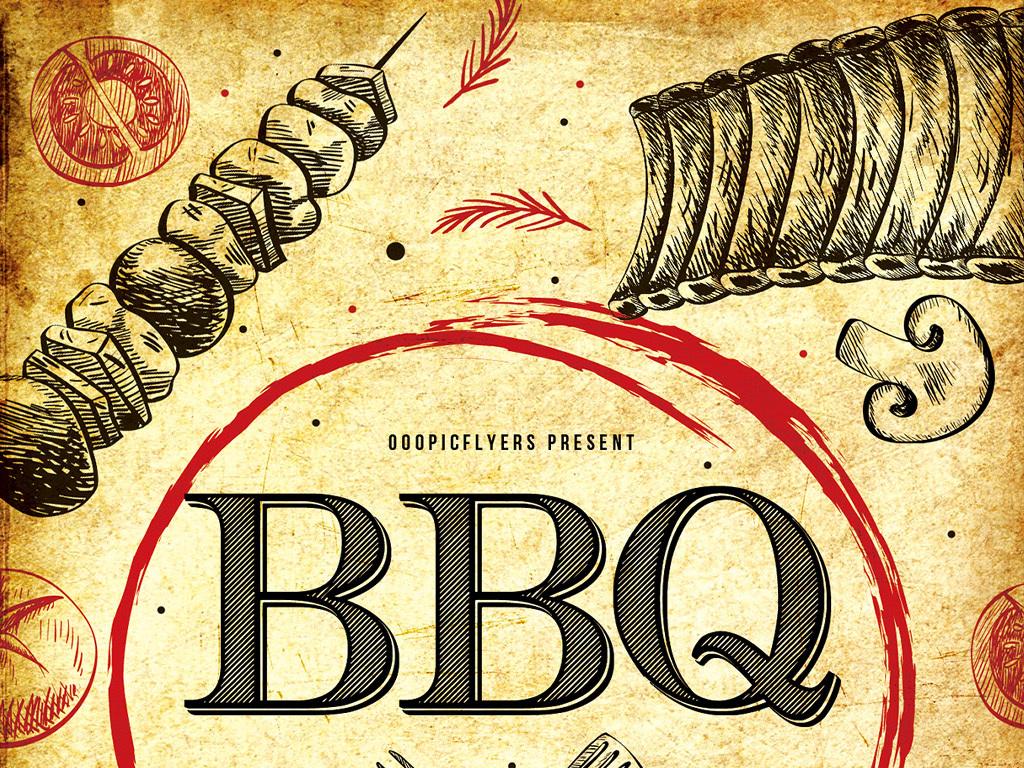 怀旧复古手绘涂鸦烧烤餐厅烤肉料理促销海报