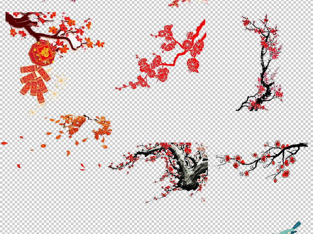 春季梅花盛开手绘腊梅png免扣设计图片