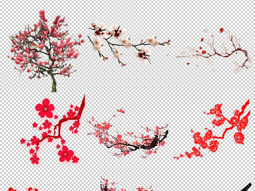 梅花花瓣                                  中国风梅花梅花灯笼手绘