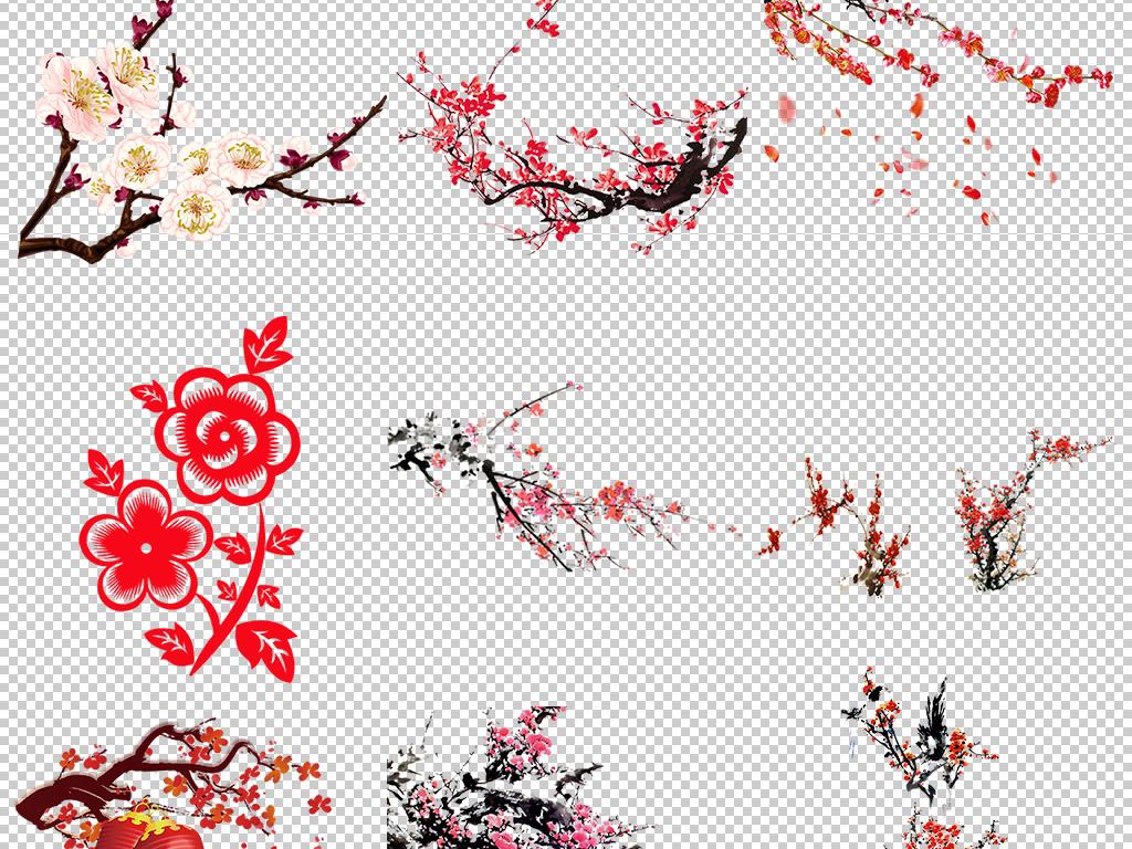 中国风手绘水墨梅花桃花花瓣png免扣素材