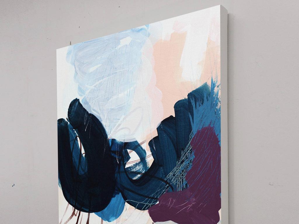 蓝色黑色水墨抽象装饰画