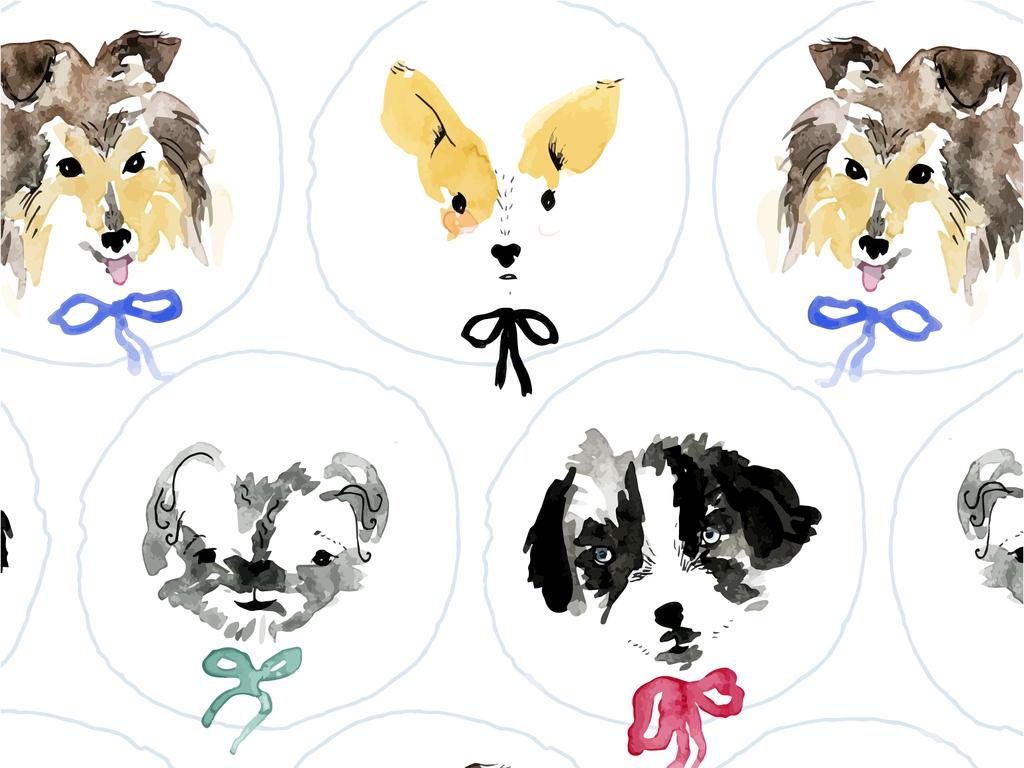 家养宠物手绘图案