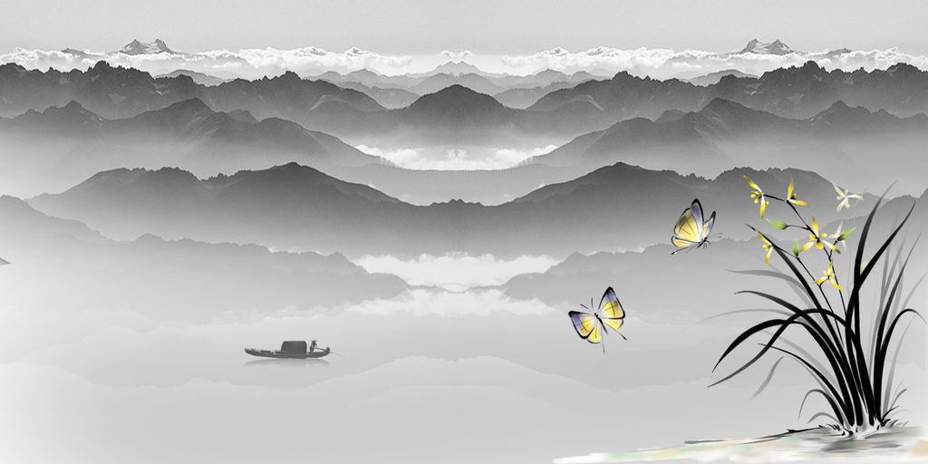 新中式禅意水墨山水中式背景墙