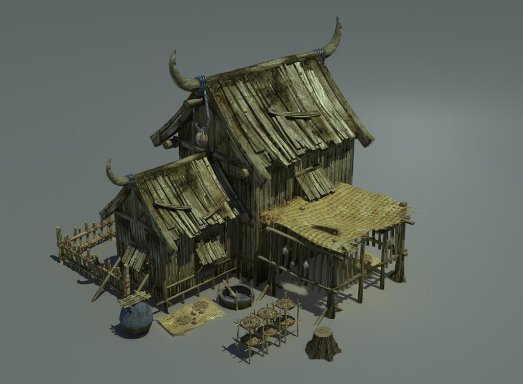 古代3d木头房子部落牛角木板房图片