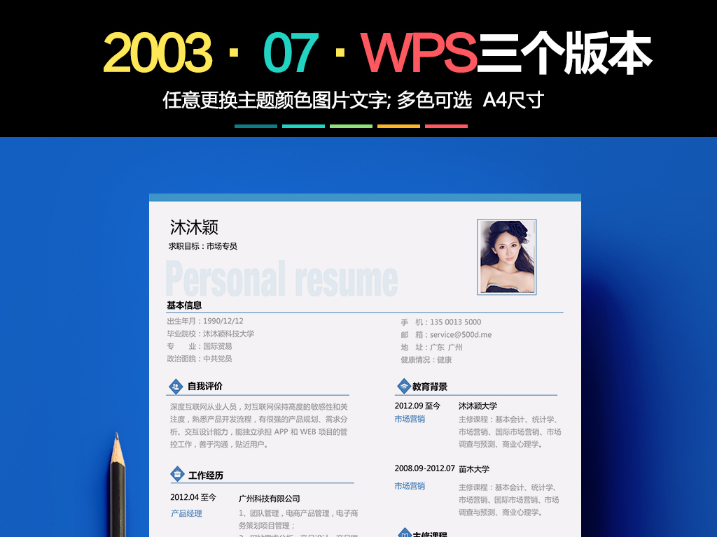 ord求职个人简历模板个性简历wps