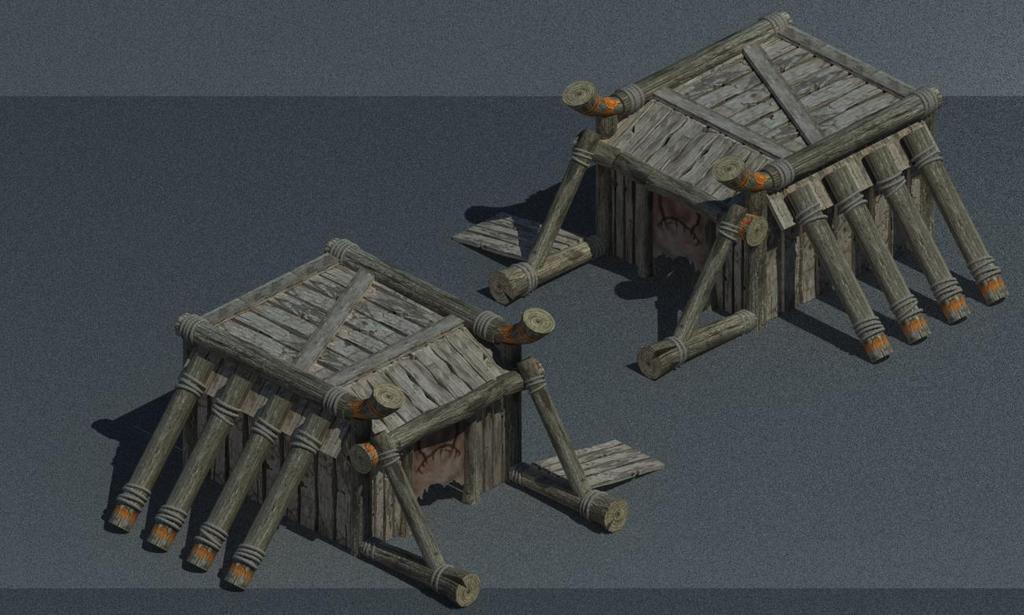 3d游戏部落木屋帐篷模型木头房子模型