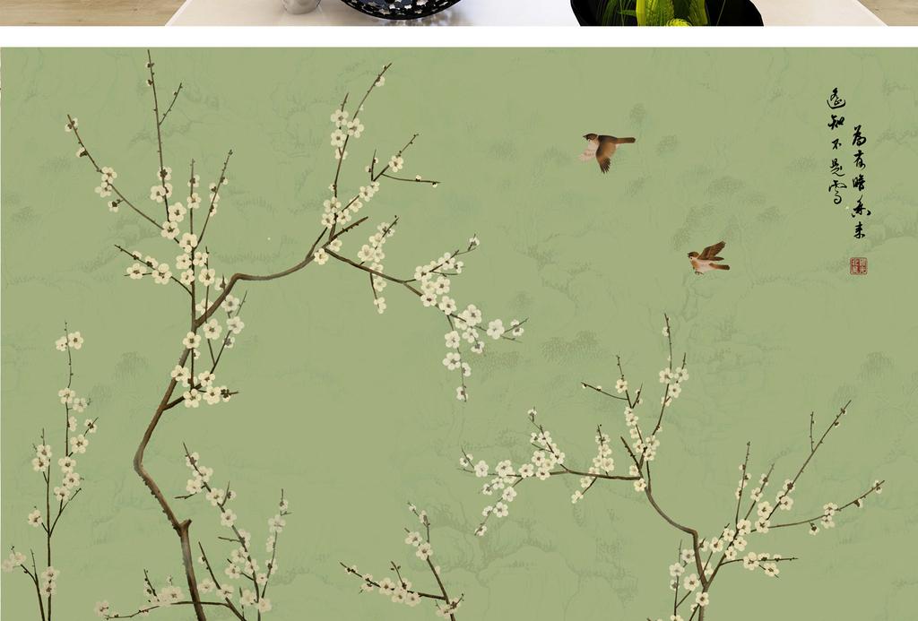树枝山水水墨国画壁画墙纸高清壁纸白花白色花做旧旧纸中式花鸟中式图片
