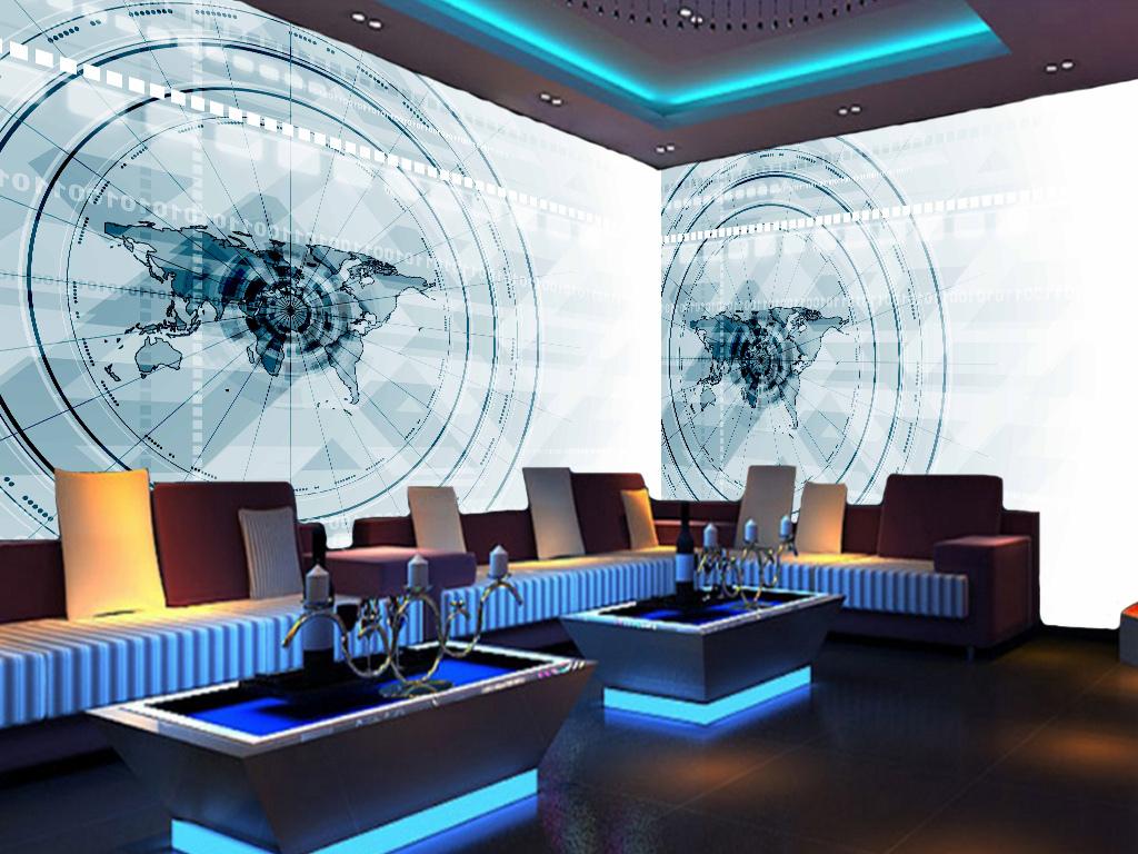 全屋背景墙 > 蓝色3d机械抽象科技电路板网吧ktv壁画  版权图片 分享