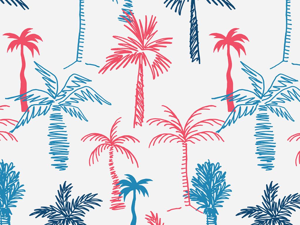 手绘树木几何四方连续面料印花图案设计