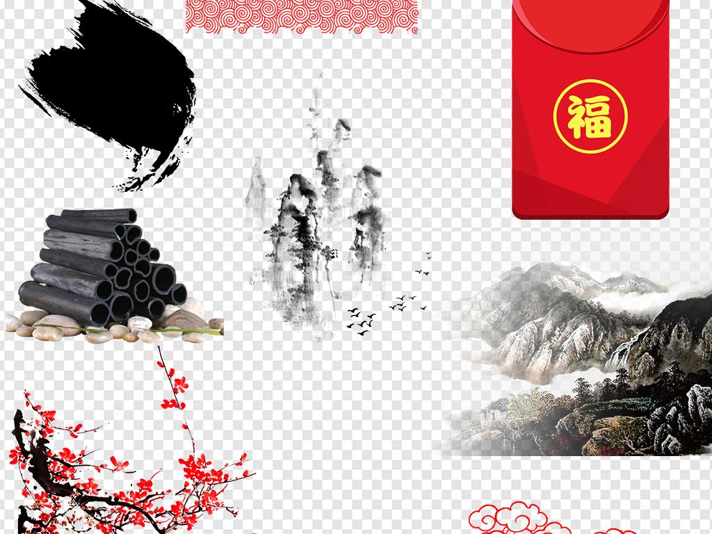 中式古典边框手绘中国风古风水墨