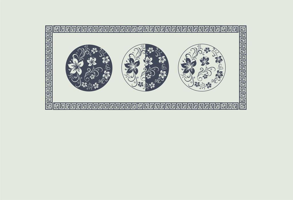 硅藻泥图案盘子中式花纹图片