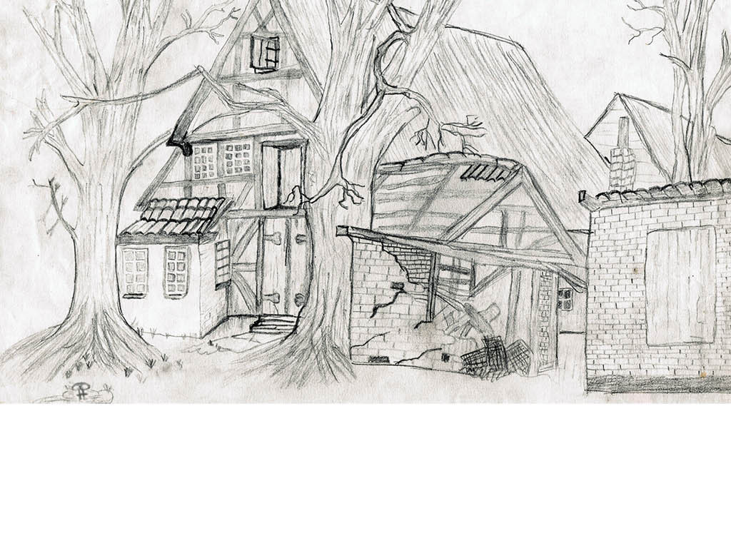 手绘欧美村庄线条手稿