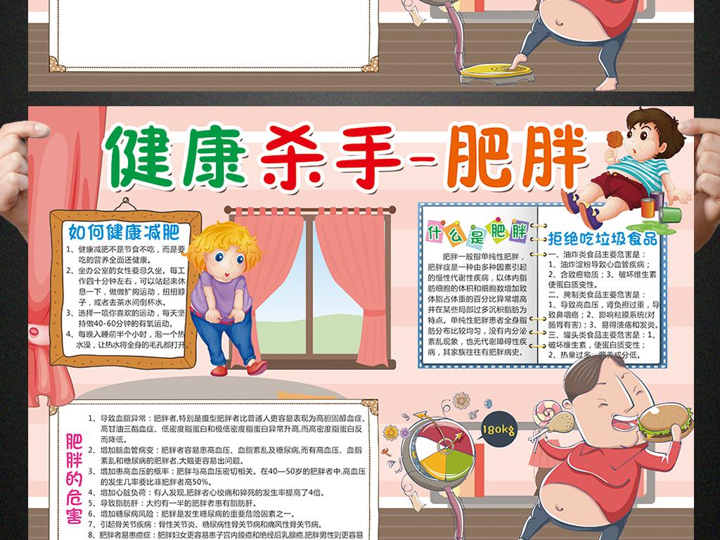 肥胖小报健康饮食减肥手抄报电子小报