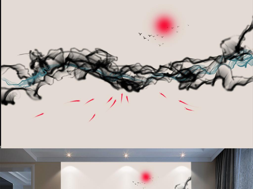 中式山水禅境手绘背景墙荷花电分水墨酒店装饰画纹饰室内装饰画人物装