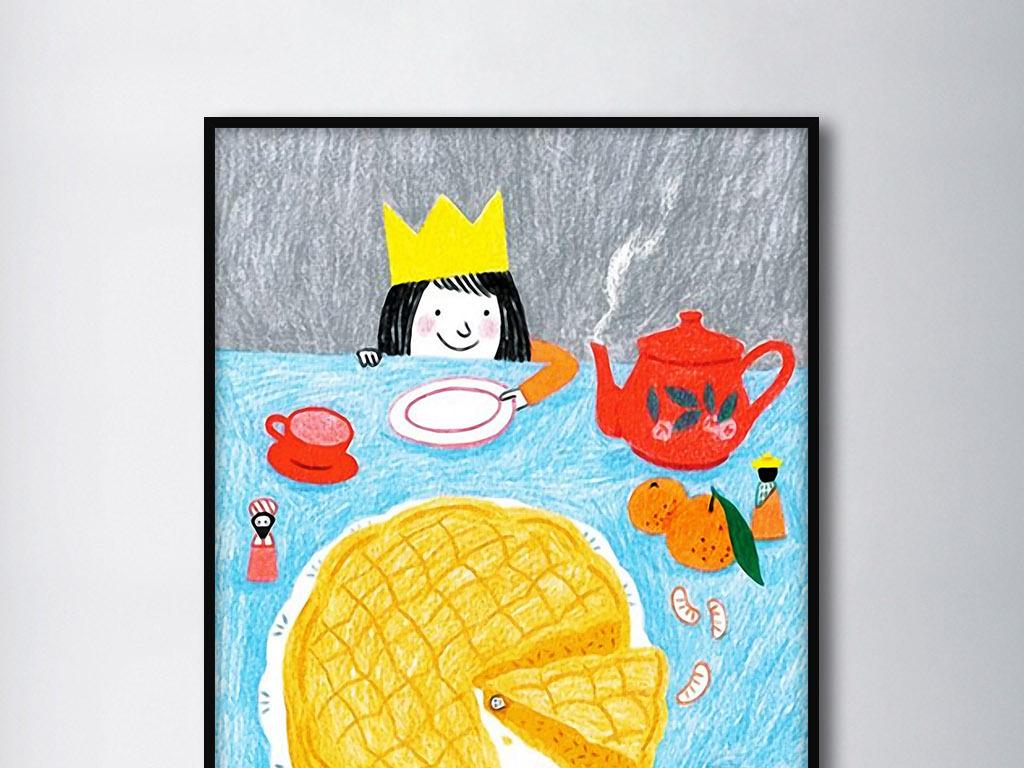 童年的生日北欧手绘可爱现代家居装饰无框画