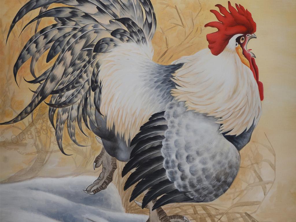 古风雄鸡纯手绘油画艺术玄关