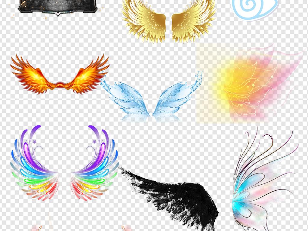 恶魔翅膀金色翅膀蝴蝶翅膀小翅膀白色翅膀黑色翅膀手绘
