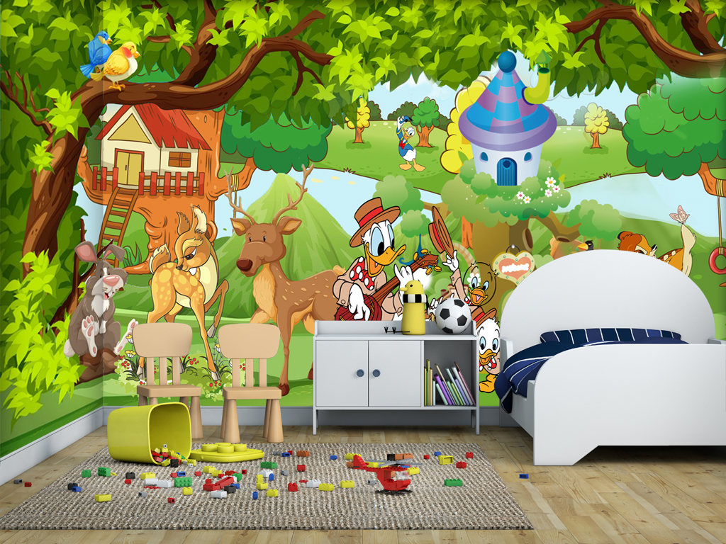时尚手绘卡通动物园儿童房背景墙