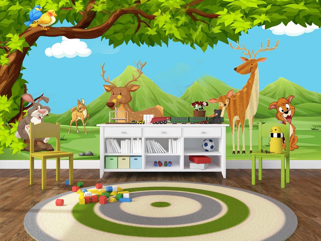 手绘卡通动物园儿童房幼儿园动物背景墙图片设计素材