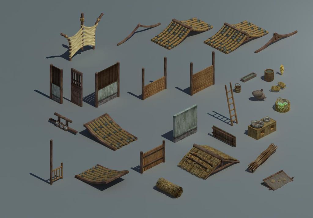 围栏素材木头场景场景素材木头素材墙瓦欧式房顶古典房顶红色房顶房顶图片