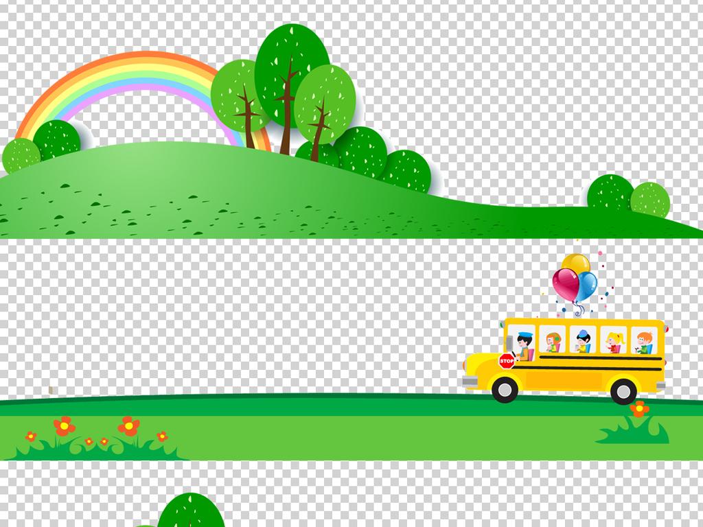 自然风光清新背景卡通背景卡通素材草地卡通边框边框素材边框背景png