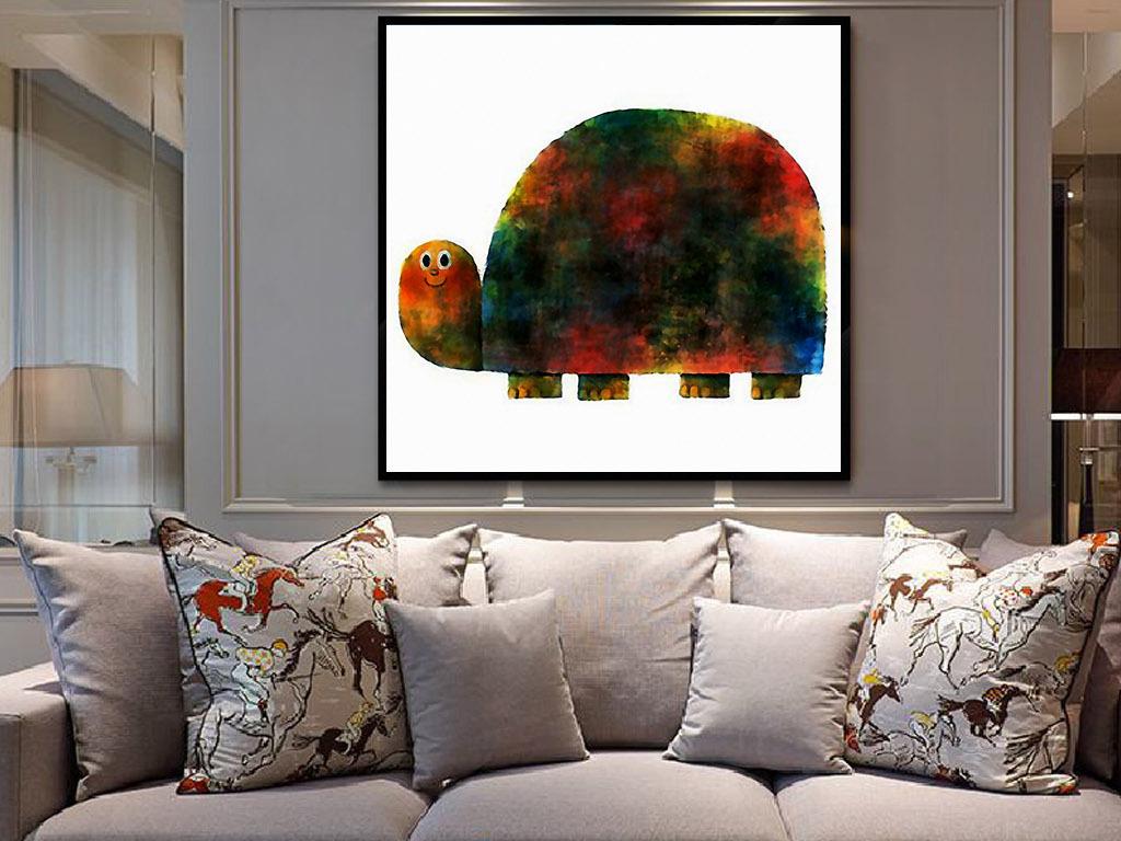 乌龟爬行现代简约手绘水彩家居客厅装饰画