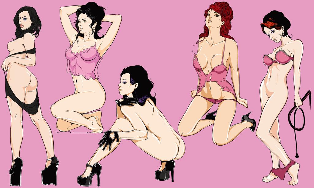 性感美女背景墙人物壁画时尚卡通女性装饰画