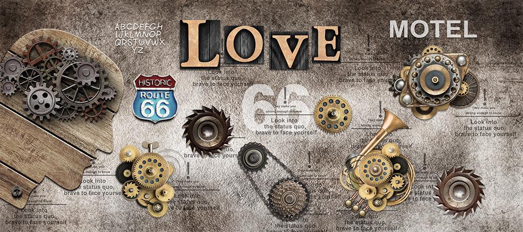 工业风齿轮love背景墙