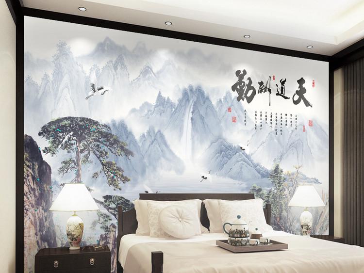 新中式水墨山水电视背景墙装饰画天道酬勤