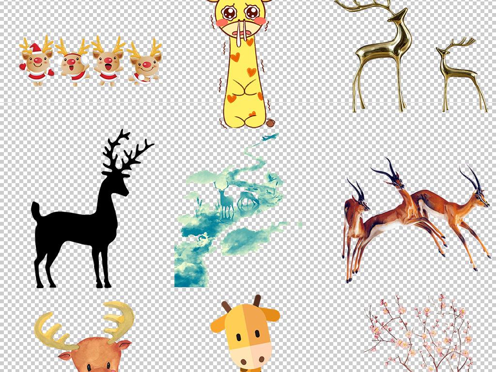 设计元素 自然素材 动物 > 卡通圣诞节小鹿麋鹿驯鹿png设计素材  卡通