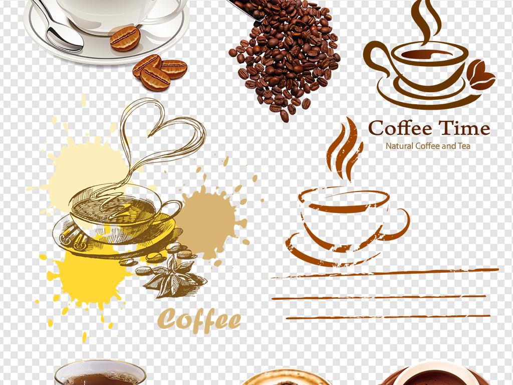 手绘喝咖啡咖啡杯咖啡豆图片素材