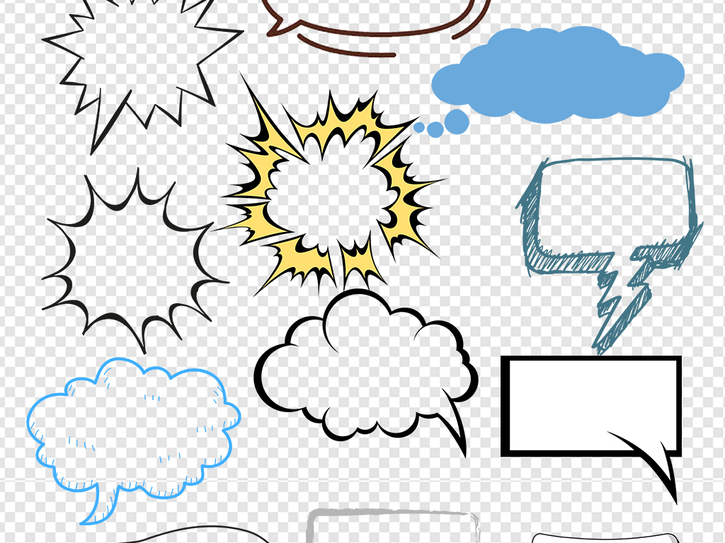 可爱卡通对话框                                  手绘