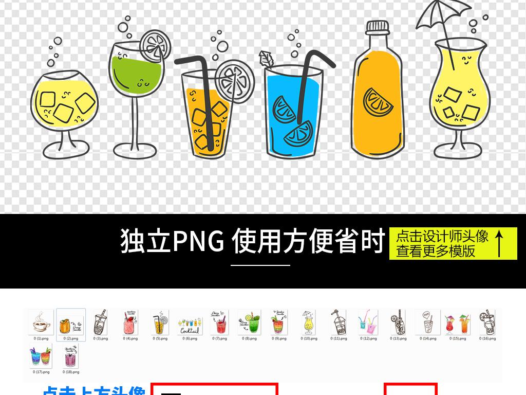 夏日饮品卡通水彩饮品奶茶冰沙海报