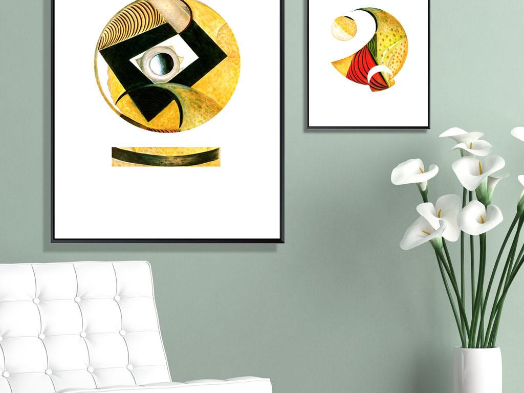 抽象几何现代极简手绘装饰画三联组合画