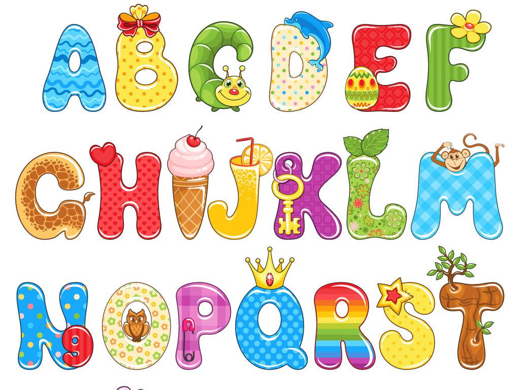 卡通字体可爱英文字母广告艺术字设计素材图片