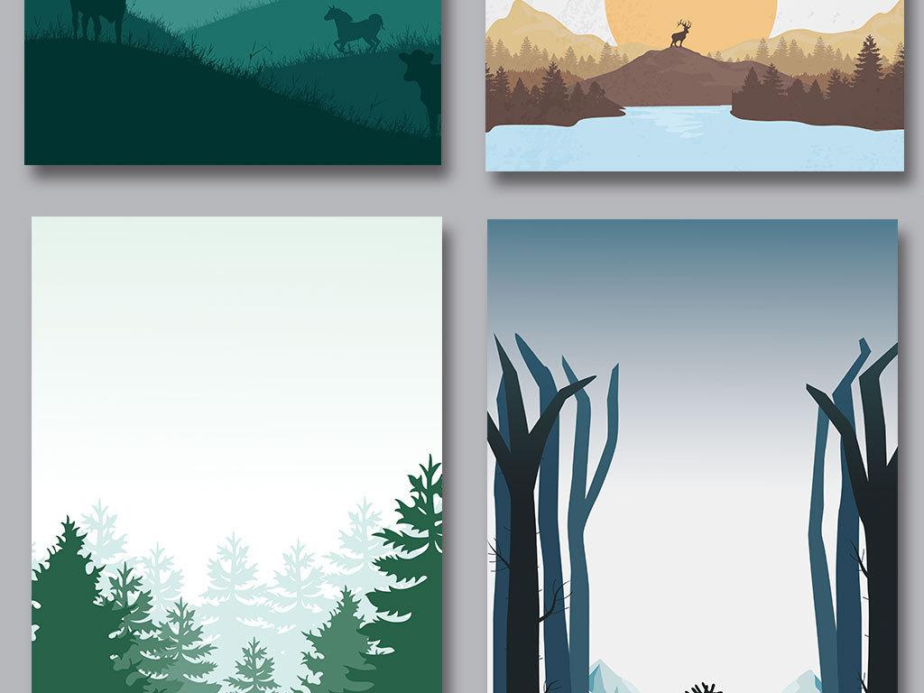 矢量手绘卡通动物背景森林剪影海报背景