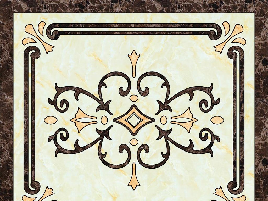 简欧式花纹高清地板画大理石纹陶瓷砖拼花图片