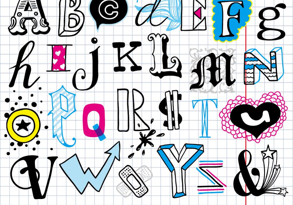 英文字母字体样式立体文字艺术字模板下载