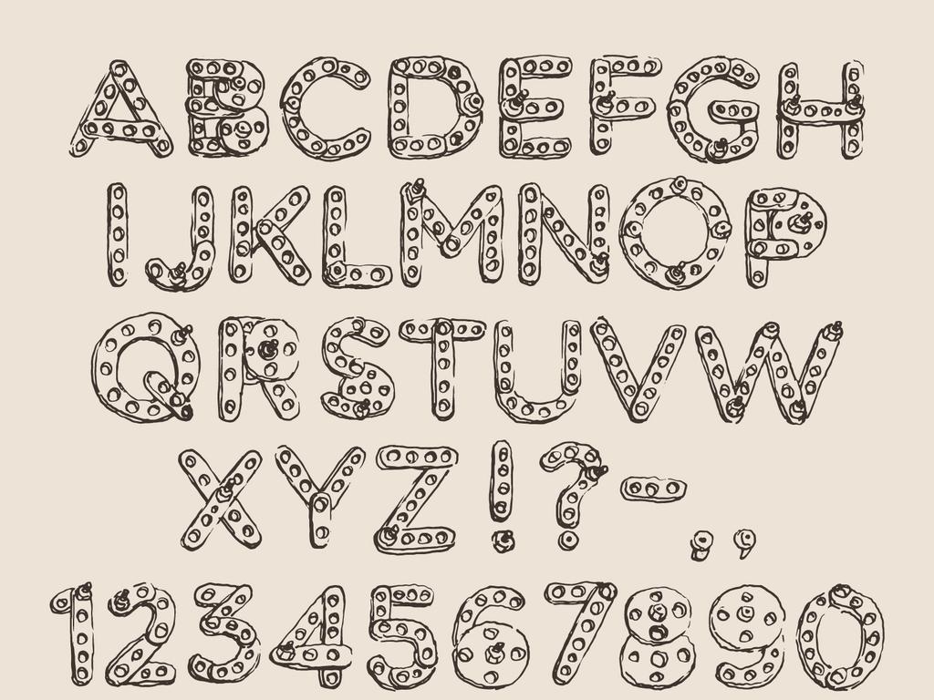 手绘机械齿轮英文字母数字符号