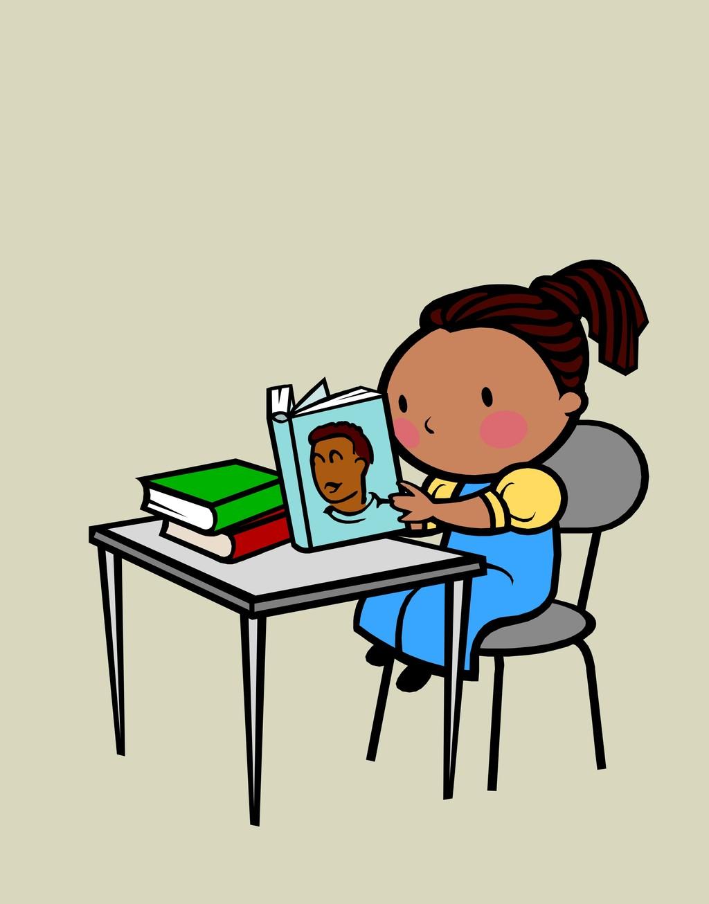 手绘卡通人物简笔插画儿童读书小女孩书籍