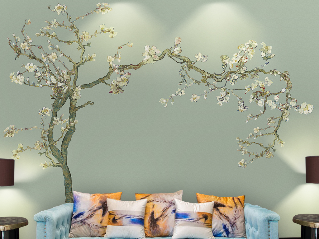 电视背景墙 客厅电视背景墙 > 手绘杏花新中式工笔花鸟油画美式壁画