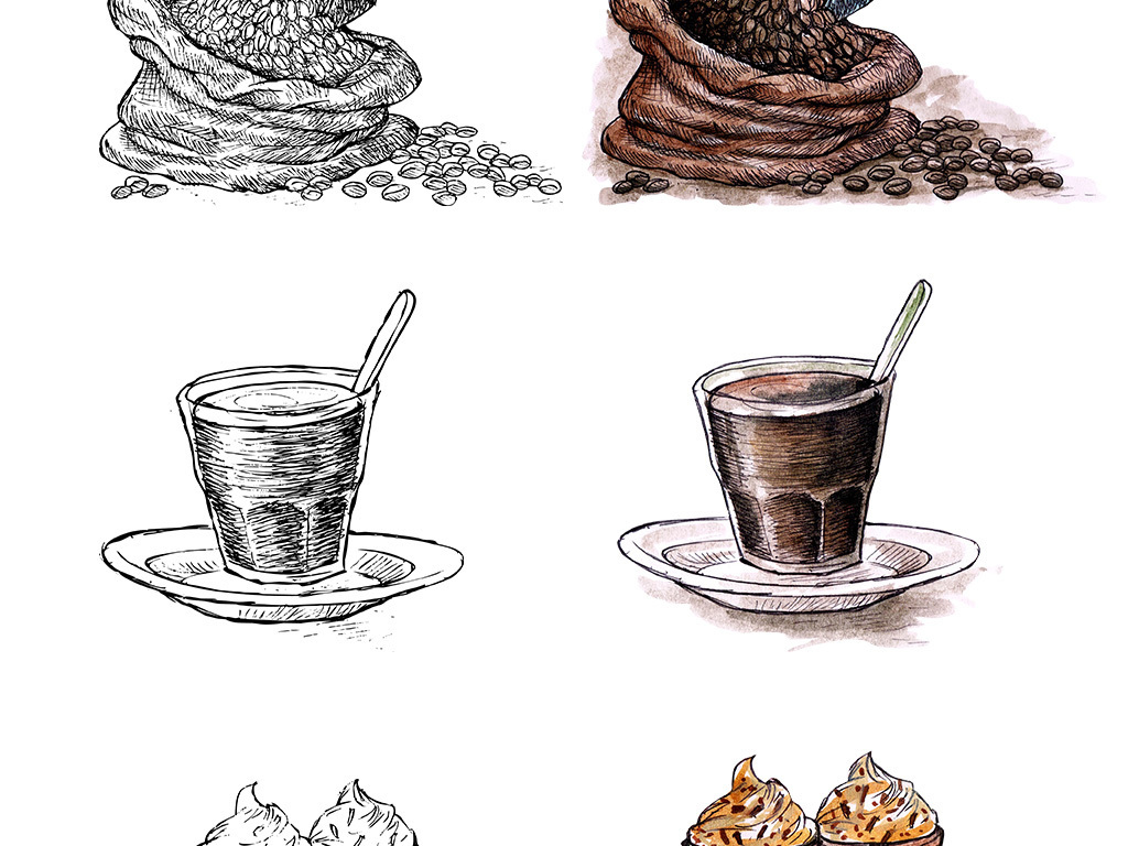 手绘素描咖啡水彩咖啡