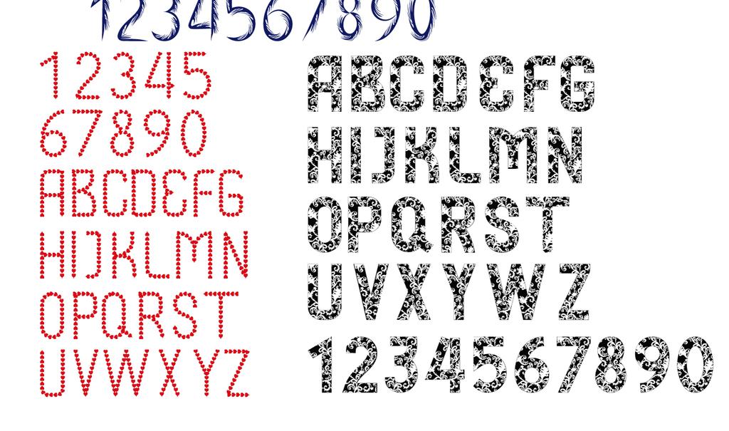 创意字体艺术字欧式花纹手写心形图案组合字