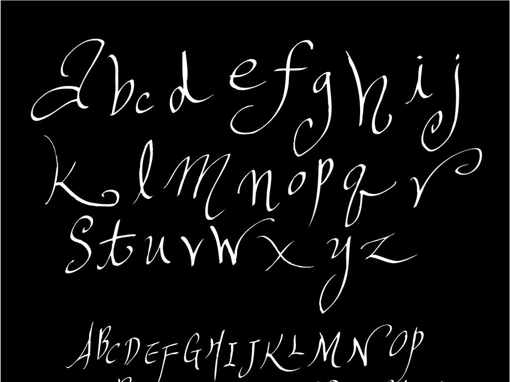 英文字母钢笔字手绘艺术字数字素材下载,作品模板源文件可以编辑替换